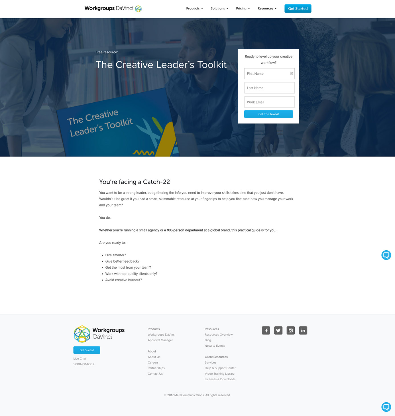 Workgroup DaVinci Landing Page