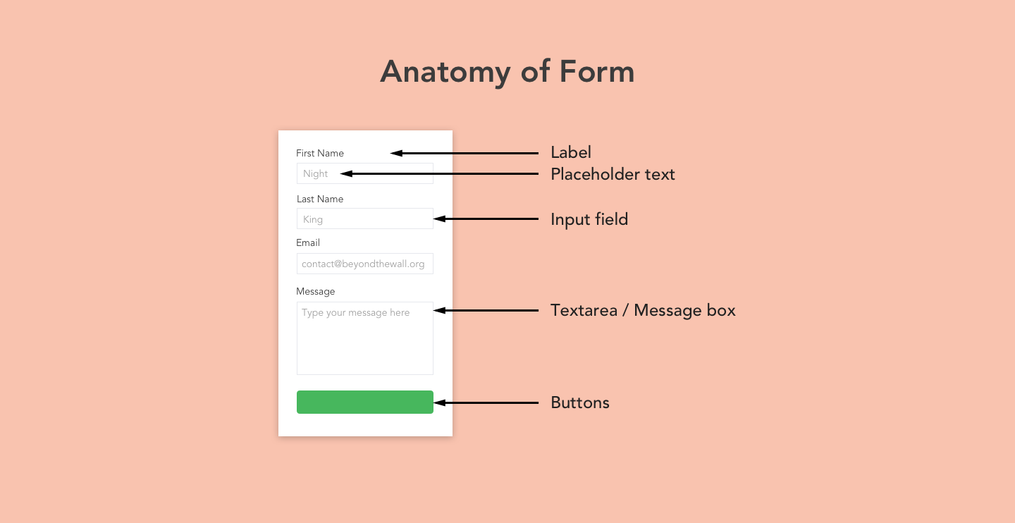 Forms are made up of fields, labels, buttons etc.